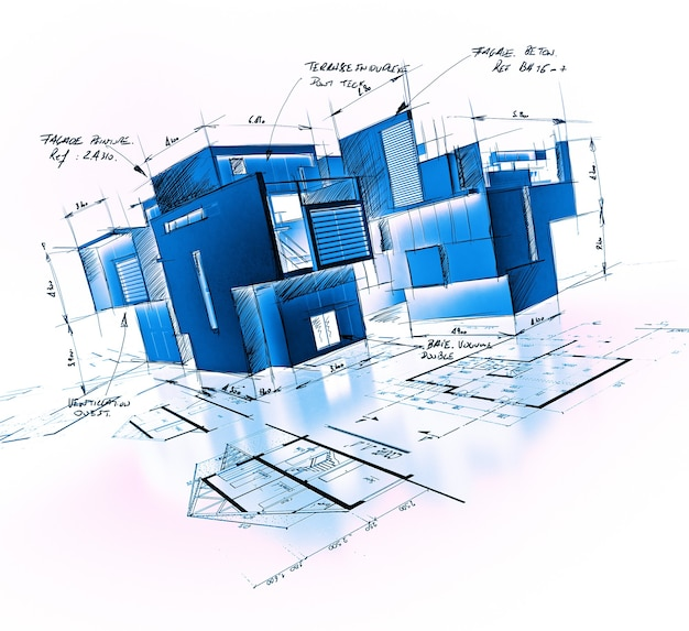 Proyecto de arquitectura con notas y escritos en tonos azules.