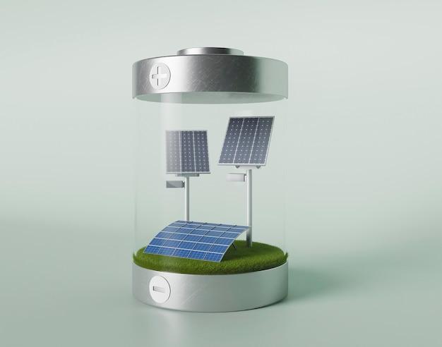 Proyecto ecológico 3d para el medio ambiente con paneles solares.