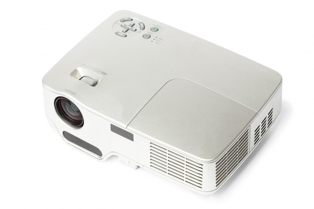 Proyector multimedia color plata.