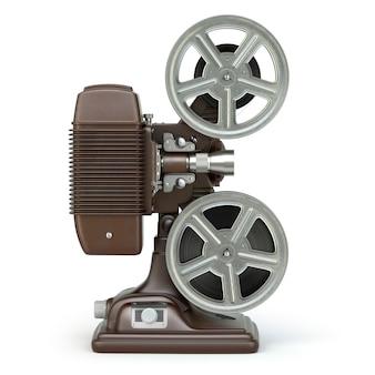 Proyector de películas de cine vintage aislado en blanco. 3d