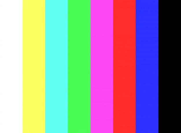 Prueba de barra de color y sin señal en el fondo de la pantalla del televisor.