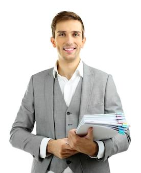 Pruebas de revisión de jóvenes profesores aislados en blanco