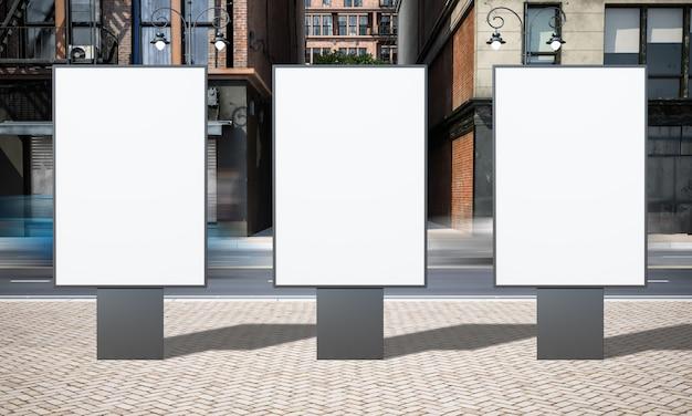 Publicidad en la calle maqueta de tres carteles publicitarios
