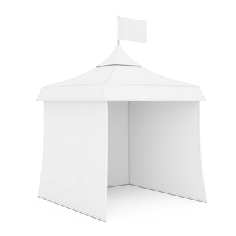 Publicidad promocional blanca evento al aire libre feria mockup carpa con bandera sobre un fondo blanco. representación 3d