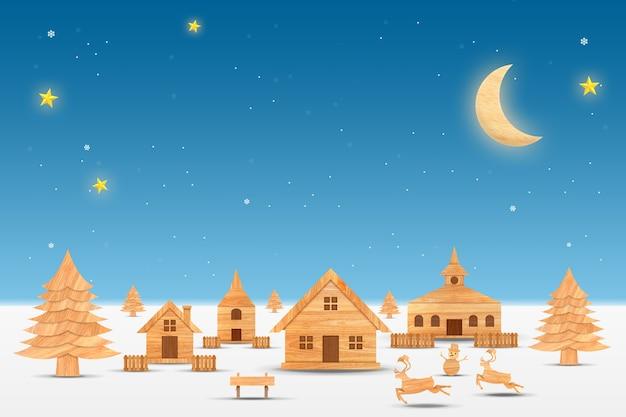 Pueblo de la ciudad del paisaje en la noche con nevadas. temporada navideña y feliz año nuevo.