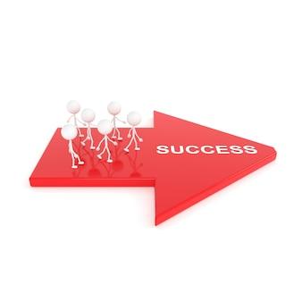 Los pueblos van al camino del éxito. representación 3d