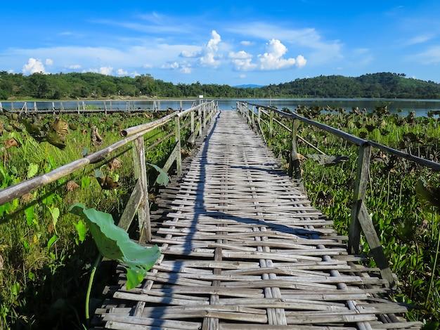 Puente de bambú tejido a través del lago de loto con fondo de montaña, cielo azul y hoja de loto