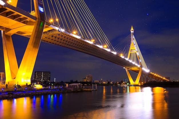 Puente colgante de bhumibol en tailandia