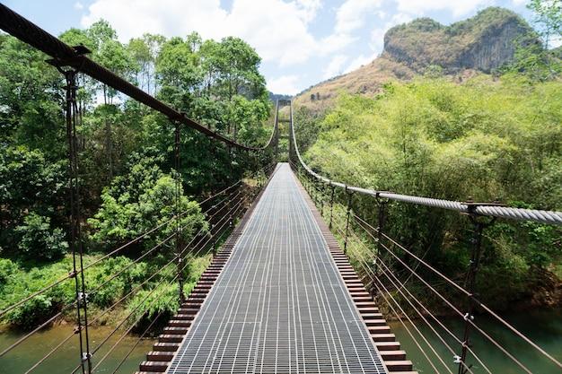 Puente de hierro y montaña