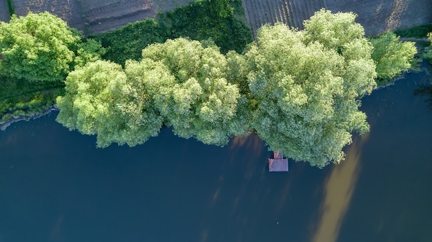 Puente de madera recto en el panorama del bosque y el paisaje. la vista superior es tomada por drones.