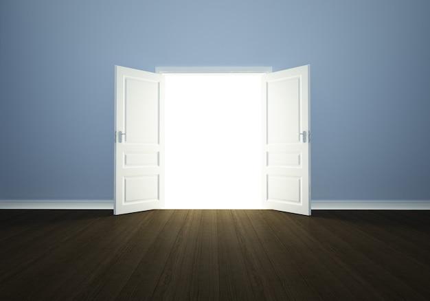 Puerta abierta en una habitación vacía