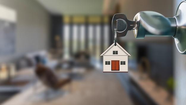 Puerta abierta con llave en el ojo de la cerradura al interior moderno de la sala de estar