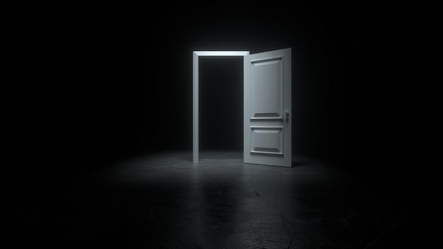 Una puerta blanca abierta a una habitación oscura con luz brillante.