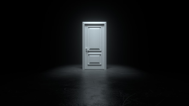Puerta blanca cerrada en una habitación oscura con luz brillante