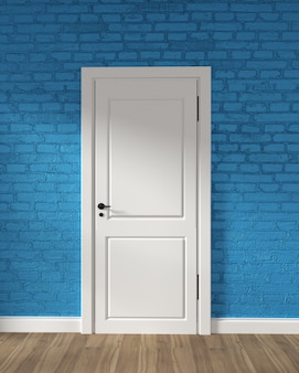 Puerta blanca del desván moderno y pared de ladrillo azul en piso de madera. representación 3d