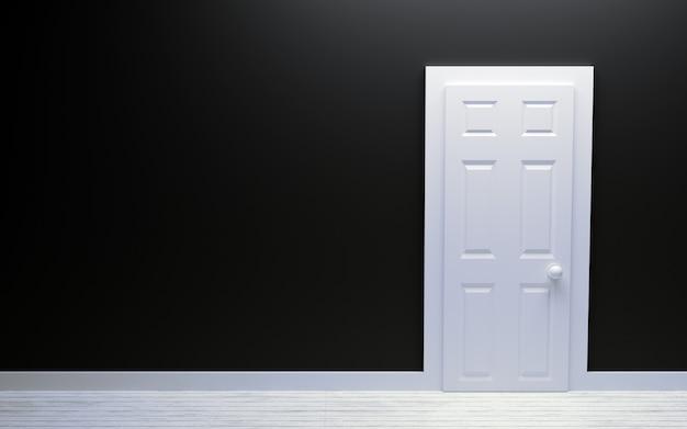Puerta blanca moderna y pared negra con espacio libre
