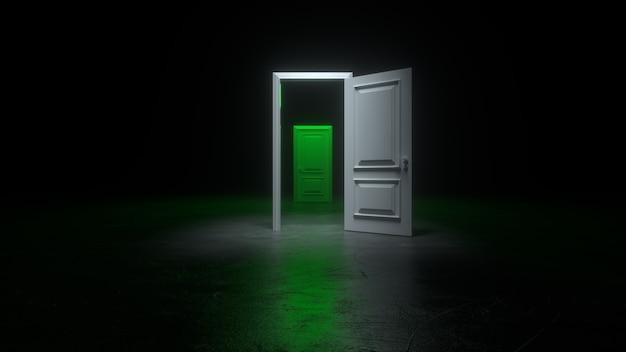 Una puerta blanca y verde abierta a una habitación oscura con luz brillante.