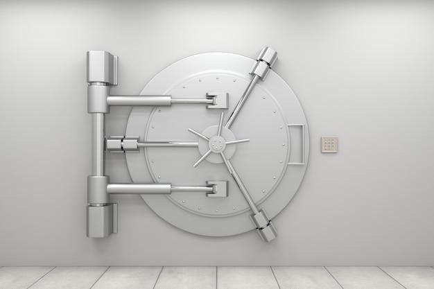 Puerta de bóveda de banco cerrada con panel de códigos
