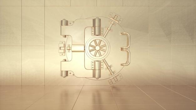 Puerta de bóveda dorada redonda grande