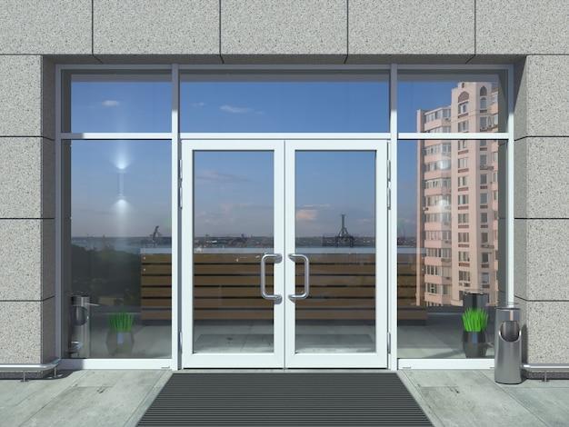 Puerta de entrada de oficina blanca moderna