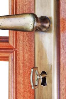 Puerta de la habitación y tirador de la puerta.