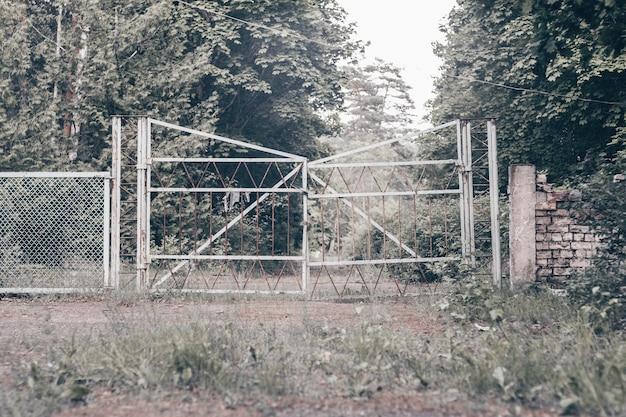 Puerta de metal abandonada vieja, en el camino del bosque herboso