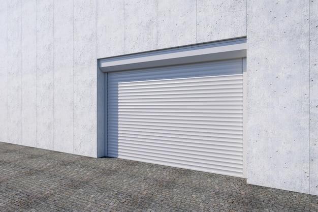 Puerta de persiana cerrada o puerta enrollable en el edificio de la puerta en 3d rendering