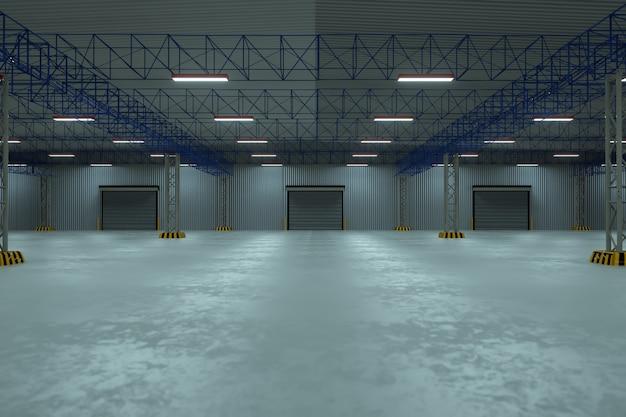 Puerta de persiana enrollable y piso de concreto fuera del edificio de la fábrica para el fondo de la industria