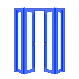 Puerta plegable azul con parrilla 3d