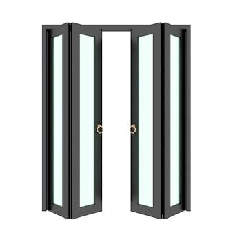 Puerta plegable negra con rejilla 3d