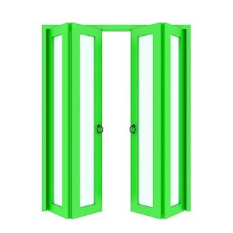 Puerta plegable verde con rejilla 3d