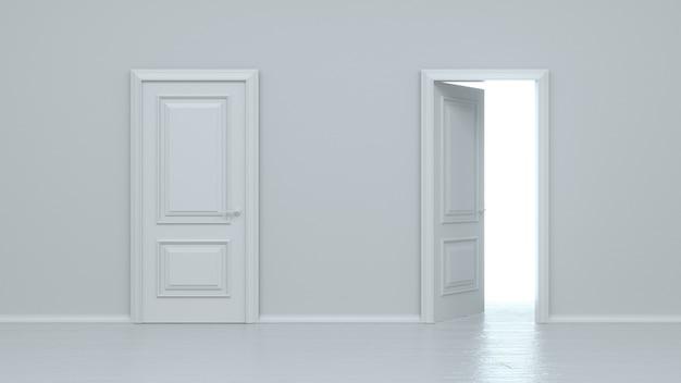 Puerta realista de entrada blanca abierta y cerrada aislada en la pared blanca