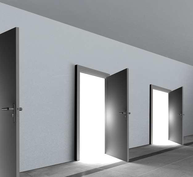 Puertas que revelan luz brillante.