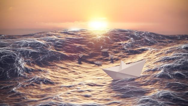 Puesta de sol con barco de papel luchando contra las olas en el océano, el liderazgo y el concepto de negocio, representación de ilustración 3d