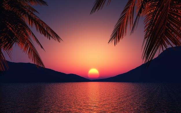 Puesta de sol con palmeras y un lago