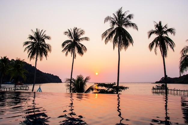 Puesta de sol que refleja en la superficie del agua en primer plano con área de árboles de coco ao bang bao