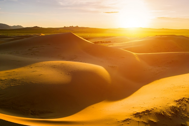 Puesta de sol sobre las dunas de arena en el desierto