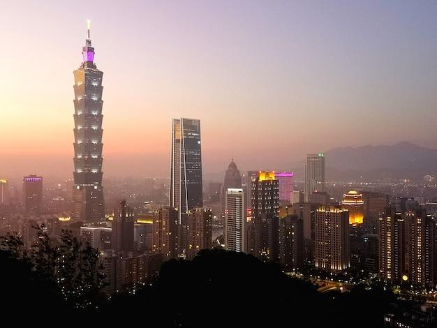 Puesta de sol del taipei 101 y paisaje urbano de la montaña xiangshan