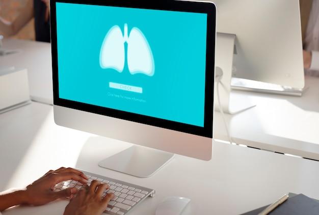 Pulmones medicina neumonía asma bronquitis concepto