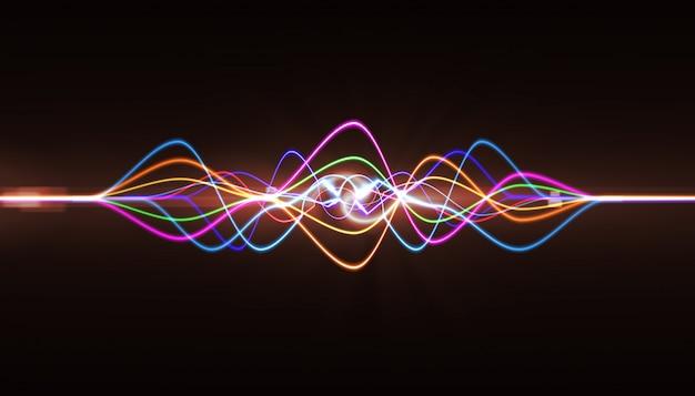 Pulso musical. resumen de la onda de sonido, frecuencias de luz o ecualizador brillante