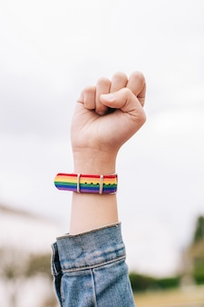 Puño levantado con pulsera lgtb rainbow