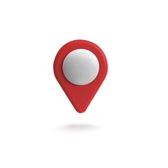Puntero gps rojo. puntero del mapa rojo. aislado. representación tridimensional. 3d ilustración.