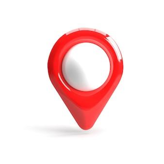 Puntero gps rojo. puntero del mapa rojo. aislado. representación tridimensional. render 3d