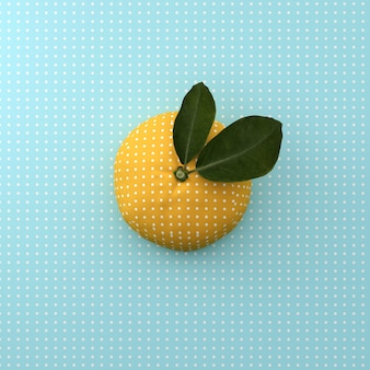 Punto anaranjado de la fruta en fondo azul del modelo del punto. concepto de comida mínima idea. vista superior.