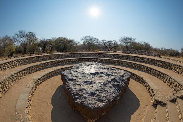Punto de vista del meteorito hoba, namibia, áfrica.