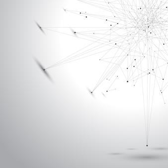 Puntos de ilustración de fondo gráfico gris con conexiones para su diseño.