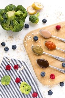 Puré de frutas y verduras frescas.