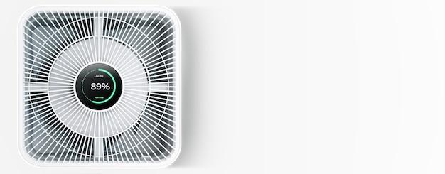 Purificador de aire sobre fondo blanco con filtro para limpiador que elimina el polvo fino pm2.5