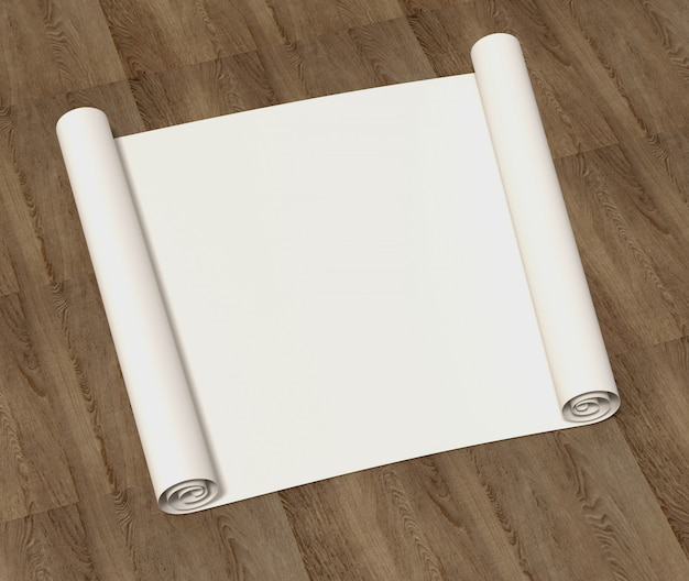 Puro rollo vacío de papel de dibujo sobre una superficie de madera. ilustración 3d