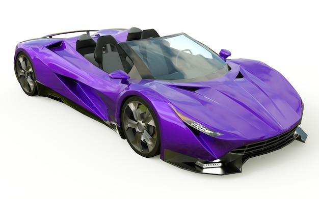 Púrpura descapotable deportivo conceptual para conducir por la ciudad y la pista de carreras. representación 3d